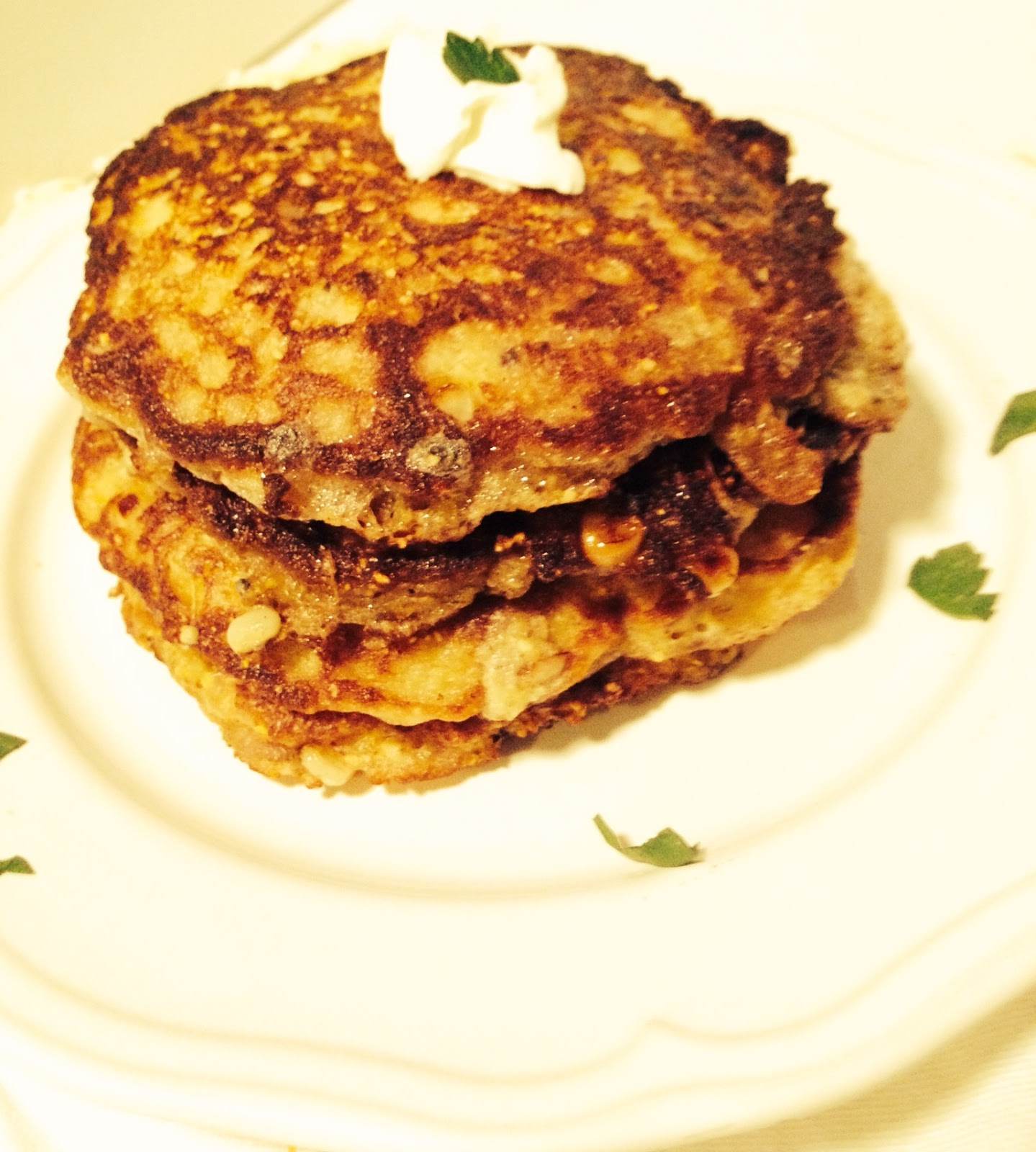 Corn Griddle Cakes with Turkey Sausage | Lazy Girl Dinners