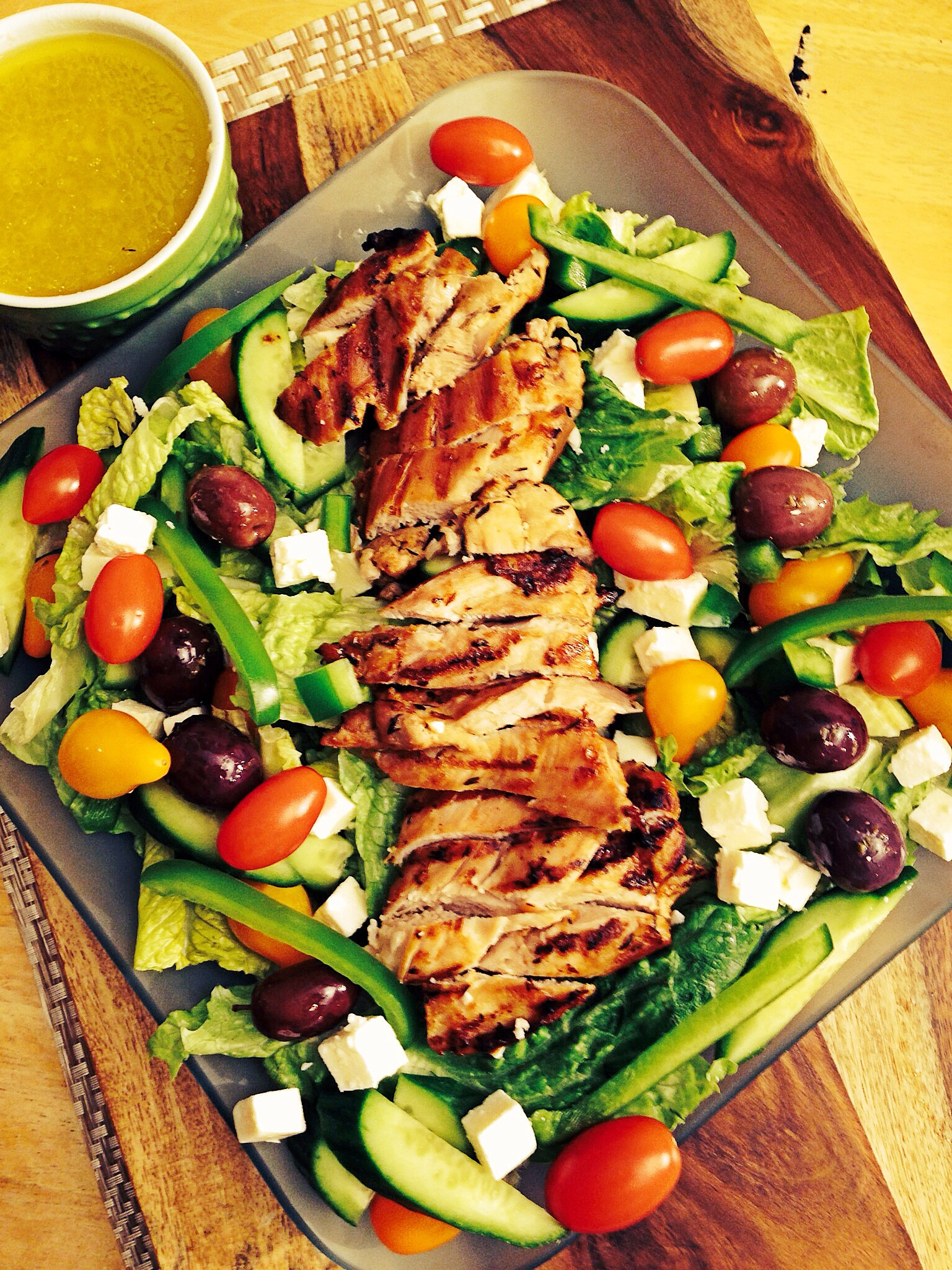 Grilled Greek Chicken Salad | Lazy Girl Dinners