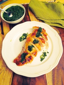 Roast Chicken with Cilantro Pesto