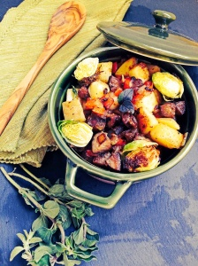 Kielbasa and Hash with Roasted Brussel Sprouts