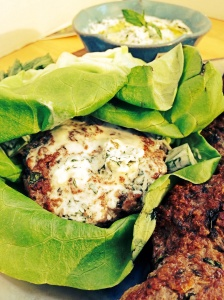 Lamb Burger with Yogurt cucumber sauce
