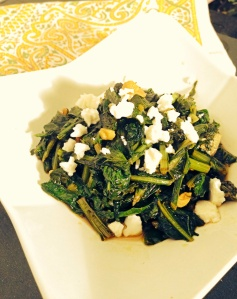 Sautéed Beet Greens With Garlic and Feta Cheese