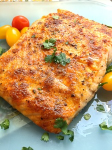 Spice rubbed Salmon with lemon cream sauce