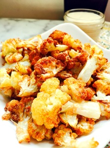 Fried Cauliflower Florets with Creamy Garlic Tahini  Sauce
