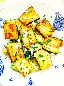 Grilled Zucchini with Avocado and White Wine Viniagrette